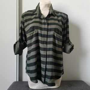 RVCA Black  Dark Green Stripe Button Up Shirt